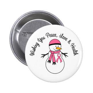 Cinta del cáncer de pecho del muñeco de nieve del pin redondo de 2 pulgadas