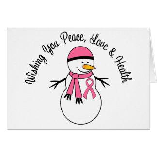 Cinta del cáncer de pecho del muñeco de nieve del  tarjetas
