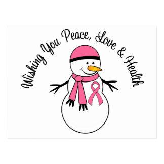 Cinta del cáncer de pecho del muñeco de nieve del  tarjeta postal