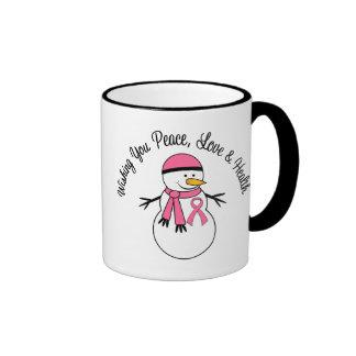 Cinta del cáncer de pecho del muñeco de nieve del  tazas de café