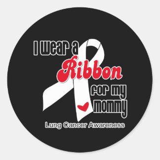 Cinta del cáncer de pulmón mamá etiquetas redondas