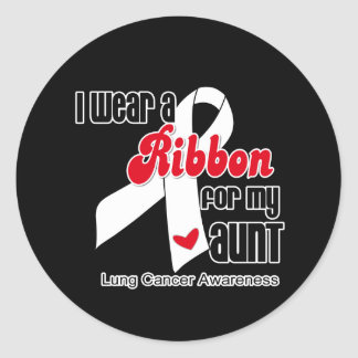 Cinta del cáncer de pulmón (tía) pegatina redonda
