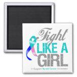 Cinta del cáncer de tiroides - lucha como un chica imán de nevera