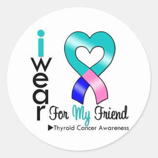 Cinta del cáncer de tiroides para mi amigo pegatinas redondas