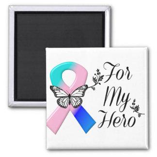 Cinta del cáncer de tiroides para mi héroe imán cuadrado
