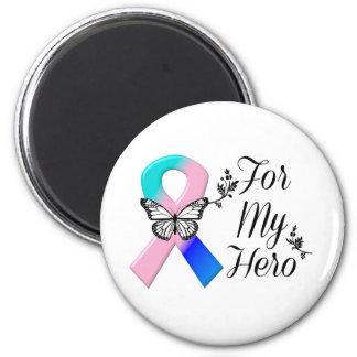 Cinta del cáncer de tiroides para mi héroe imán redondo 5 cm