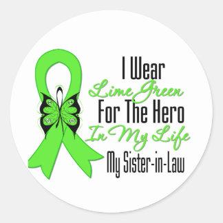 Cinta del cáncer del linfoma mi héroe mi cuñada etiquetas redondas