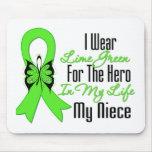 Cinta del cáncer del linfoma mi héroe mi sobrina tapete de ratón