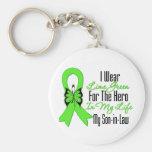 Cinta del cáncer del linfoma mi héroe mi yerno llaveros personalizados