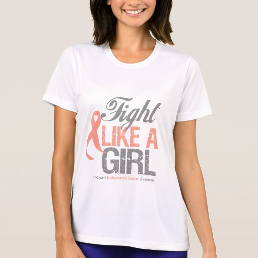 Cinta del cáncer endometrial - lucha como un chica camiseta
