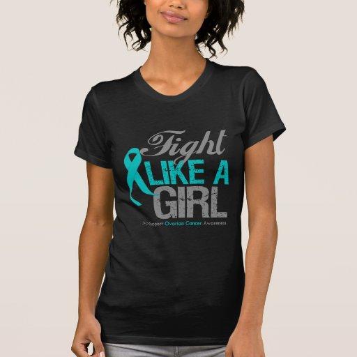 Cinta del cáncer ovárico - lucha como un chica camisetas