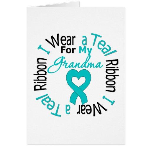 Cinta del cáncer ovárico para mi abuela tarjetón