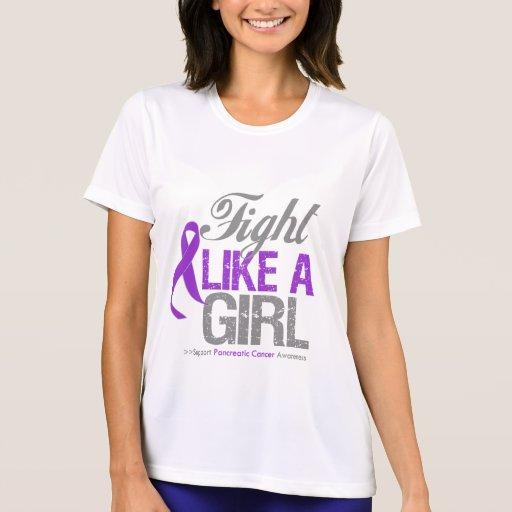 Cinta del cáncer pancreático - lucha como un chica camiseta