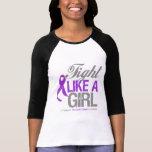 Cinta del cáncer pancreático - lucha como un chica camisetas