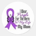 Cinta del cáncer pancreático mi héroe mi mamá pegatina redonda