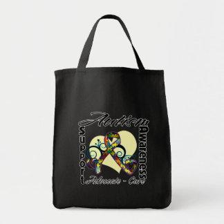 Cinta del corazón - conciencia del autismo bolsas de mano