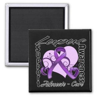 Cinta del corazón - conciencia del lupus imán cuadrado