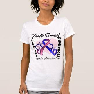Cinta del corazón - conciencia masculina del cánce camisetas