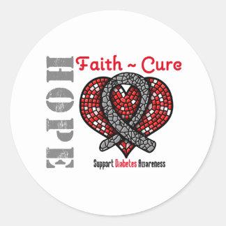 Cinta del corazón de la curación de fe de la pegatina redonda