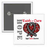 Cinta del corazón de la curación de fe de la pin cuadrado