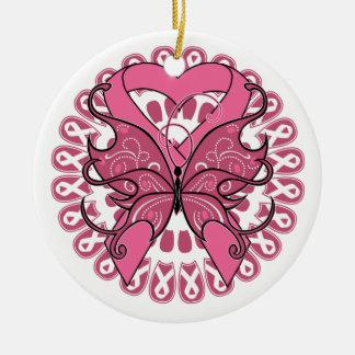 Cinta del corazón de la mariposa - cáncer de pecho adorno navideño redondo de cerámica