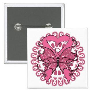 Cinta del corazón de la mariposa - cáncer de pecho pin cuadrado