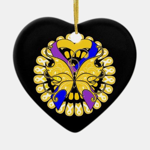 Cinta del corazón de la mariposa del cáncer de adorno navideño de cerámica en forma de corazón