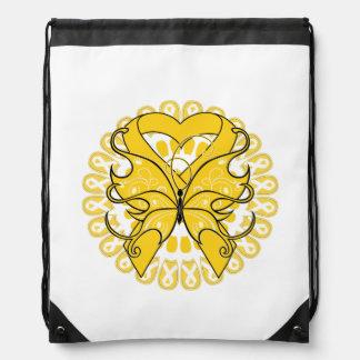 Cinta del corazón de la mariposa del cáncer de la mochila
