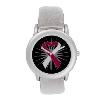 Cinta del corazón del cáncer de garganta relojes de pulsera