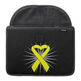 Cinta del corazón del cáncer del osteosarcoma fundas para macbook pro