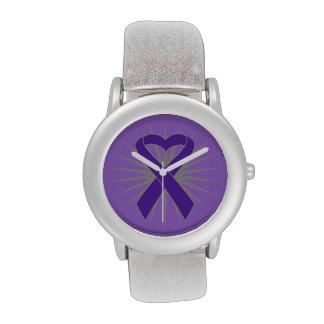 Cinta del corazón del cáncer pancreático reloj de mano