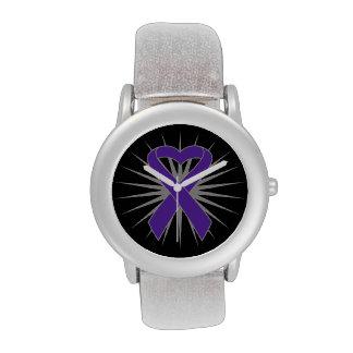 Cinta del corazón del cáncer pancreático relojes de pulsera