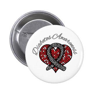 Cinta del corazón del mosaico de la diabetes pin redondo de 2 pulgadas