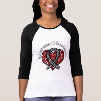 Cinta del corazón del mosaico de la diabetes playeras