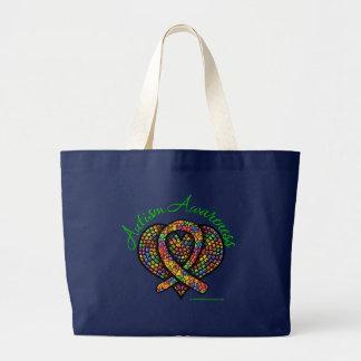 Cinta del corazón del mosaico del autismo bolsas de mano