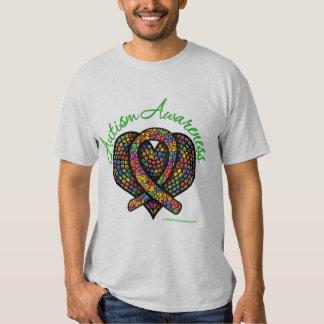 Cinta del corazón del mosaico del autismo playera