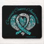 Cinta del corazón del mosaico del cáncer de cuello tapetes de raton