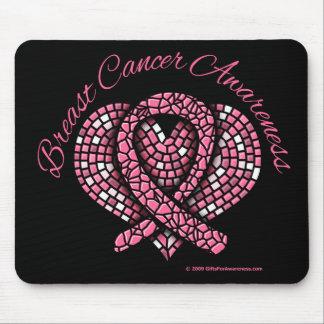 Cinta del corazón del mosaico del cáncer de pecho alfombrilla de ratones