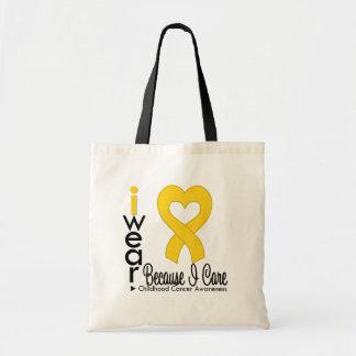 Cinta del corazón del oro del cáncer de la niñez p bolsas lienzo