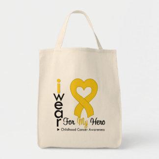 Cinta del corazón del oro del cáncer de la niñez p bolsa de mano