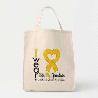Cinta del corazón del oro del cáncer de la niñez p bolsas de mano