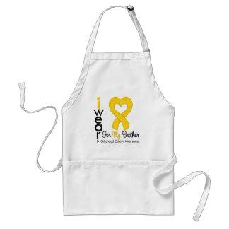 Cinta del corazón del oro del cáncer de la niñez p delantal