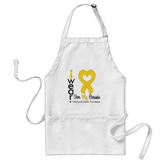 Cinta del corazón del oro del cáncer de la niñez p delantales