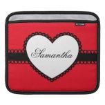 Cinta del corazón en nombre de encargo rojo mangas de iPad