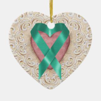 Cinta del corazón - SRF del cáncer del trullo Adorno Navideño De Cerámica En Forma De Corazón