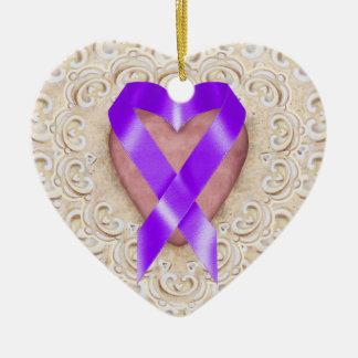 Cinta del corazón - SRF del cáncer pancreático Adornos De Navidad