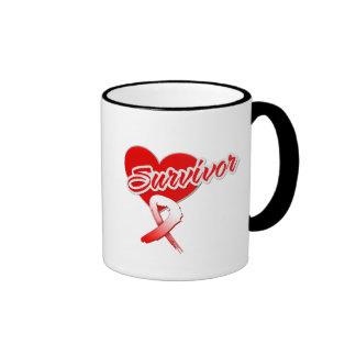 Cinta del corazón - superviviente oral del cáncer tazas