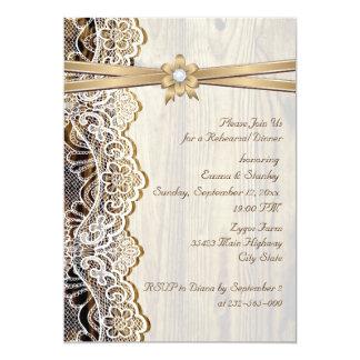 Cinta del cordón y cena del ensayo del boda de invitacion personalizada