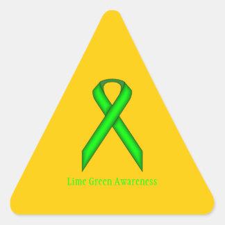 Cinta del estándar de la verde lima pegatina triangular
