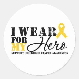 Cinta del héroe del cáncer de la niñez pegatinas redondas
